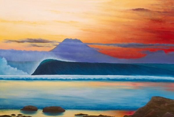 Desert Point Dusk Eco surf art painting by Scott Denholm