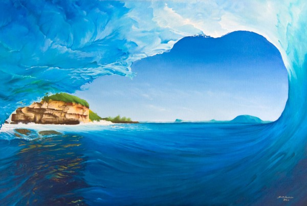 Island Escapades Wave Beach eco surf art painting by Scott Denholm