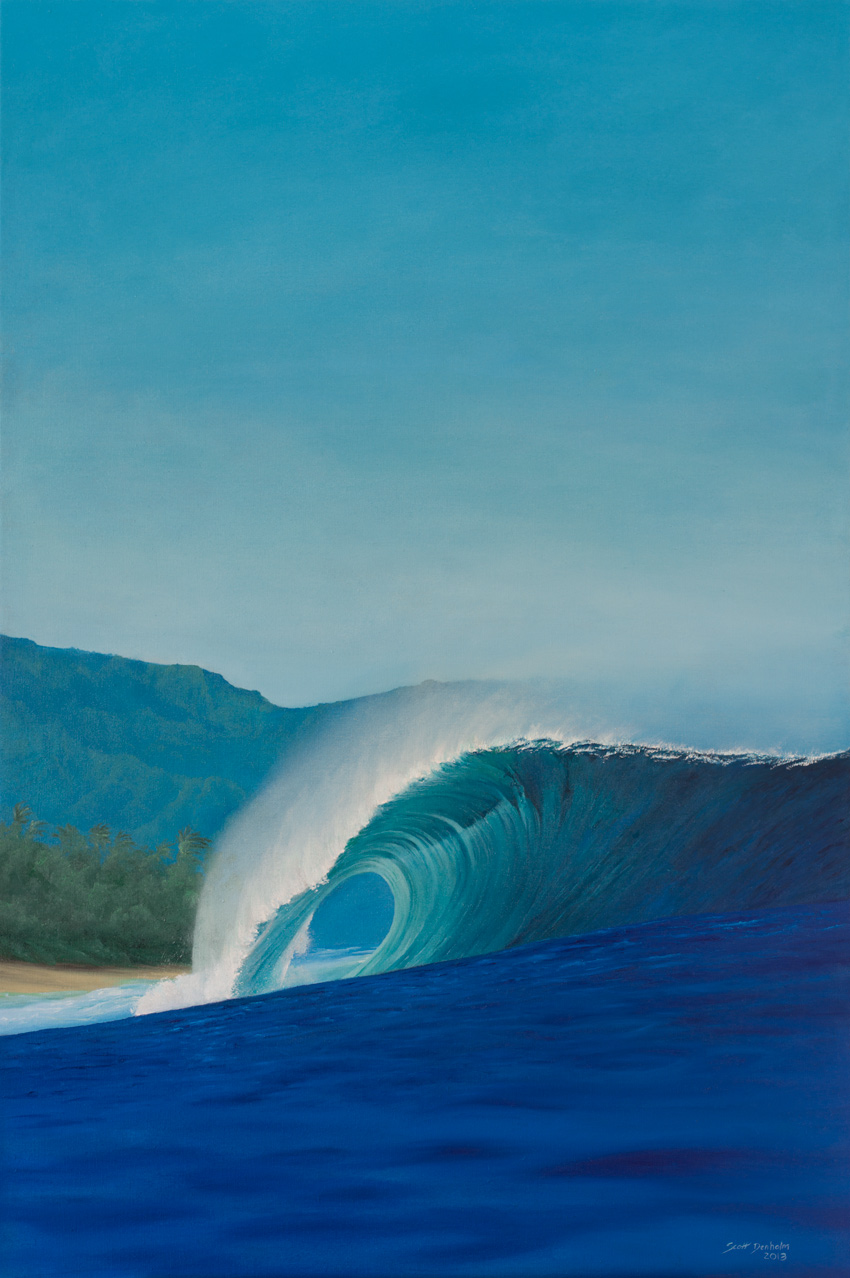 Banzai Pipeline surf art painting by Scott Denholm