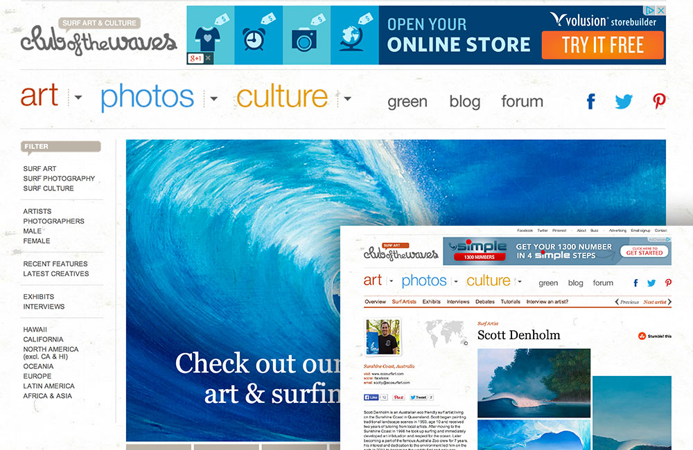 Scott Denholm feature Surf Artist on Club Of The Waves