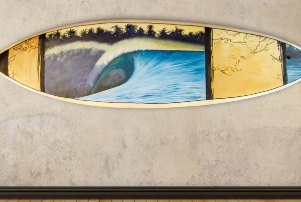 surfboard art paintings by eco surf artist scott denholm