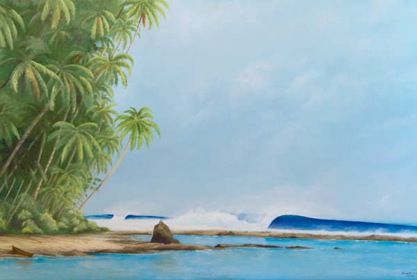 Wish You Were Here - Tropical Eco Surf Art Painting for sale